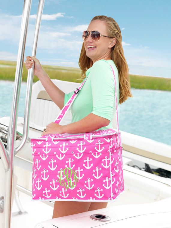 Monogrammed Personalized Cooler Tote Beach Bag Picnic By Soprep 34 00 Purses Bags Totes Pinterest Monogram And Large