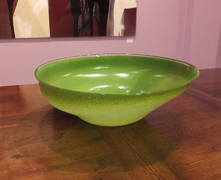 Lime Green Hand Blown Glass Bowl
