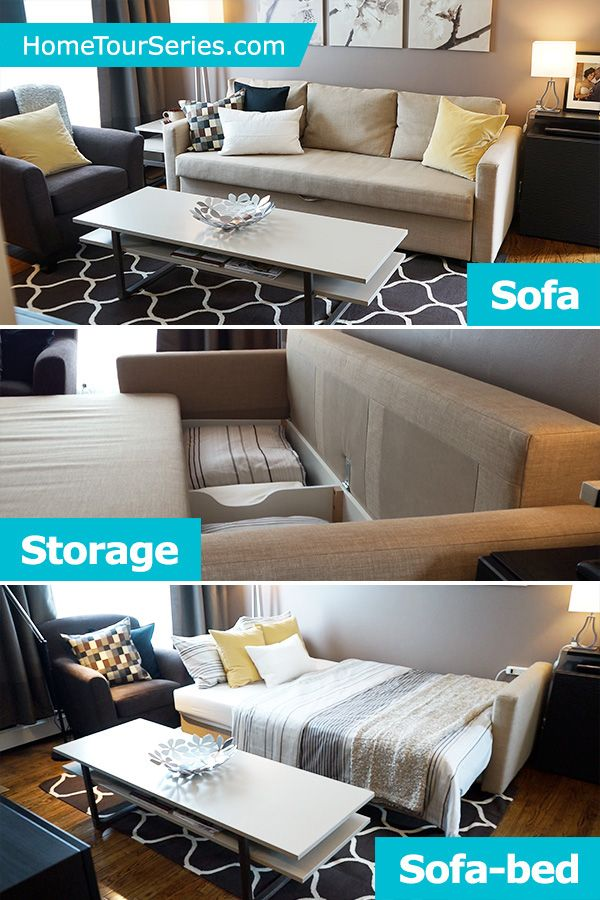 The IKEA FRIHETEN sleeper sofa is a quick and easy way to convert your living room furniture into a bed for overnight guests. The IKEA Home Tour Squad used it in their small living room makeover to add comfortable seating, with hidden storage for linens, pillows and blankets!