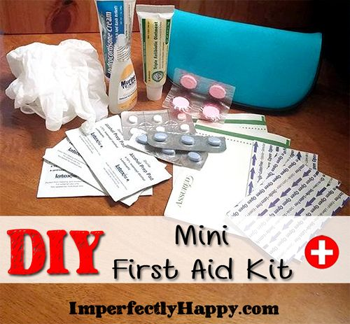 A simple DIY Mini First Aid Kit is easy and inexpensive to assemble. I was able to gather everything you see here from my local Dollar Tree and had at home.