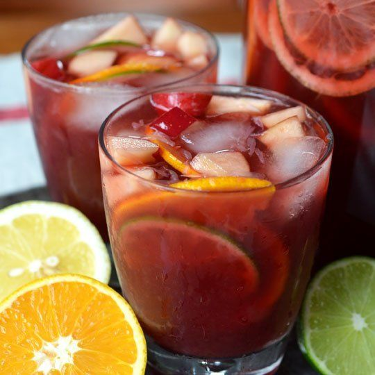 Non-Alocholic Sangria: black tea, pomegranate juice, orange juice, carbonated water, sugar, cinnamon sticks, orange, lemon, lime, apple