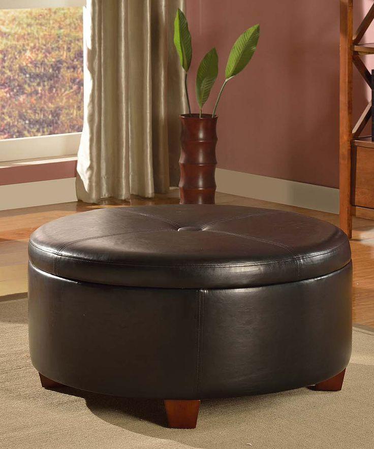 Look at this #zulilyfind! Brown Winston Round Storage Ottoman by HomePop  #zulilyfinds