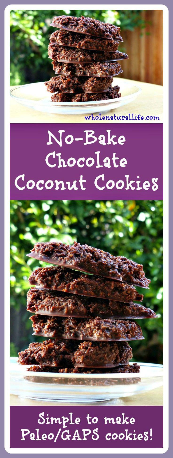 No-Bake Chocolate Coconut Cookies: Paleo/GAPS-friendly!