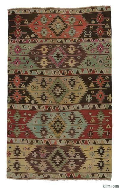 Vegetable-dyed Antique Konya Kilim Rug around 120 years old.