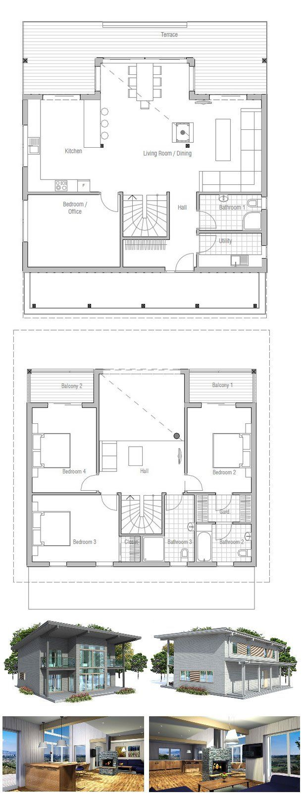 House plans second floor balcony house plans for Terrace design 2nd floor