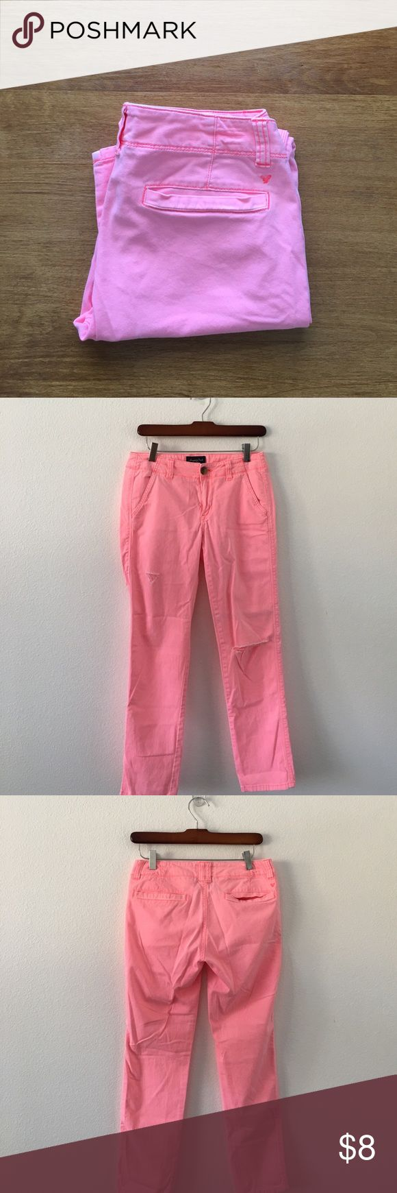 Peach American Eagle Outfitter Stretch Chino Light peach colored 90% cotton 2% spandex distressed she knows with orange stitching. Waist measures 14 inches flat across the front. 8 inch rise, 27.5 inches in length. American Eagle Outfitters Pants Trousers