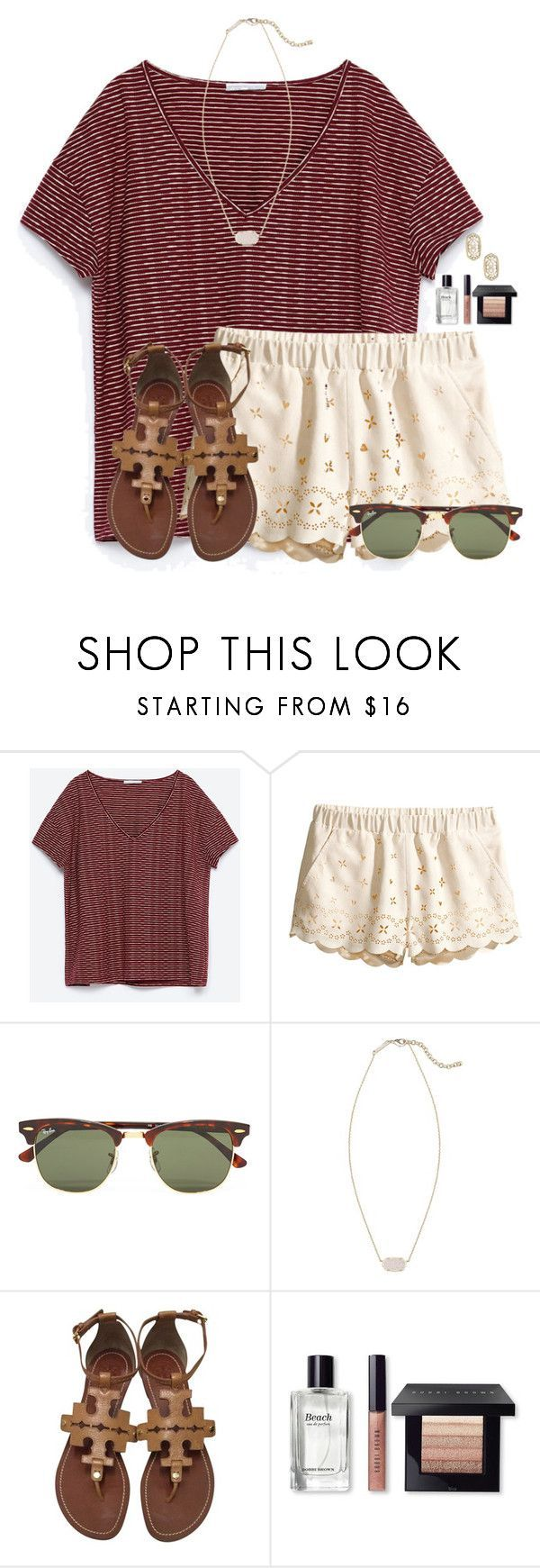 ~wind in my hair~ by flroasburn on Polyvore featuring Zara, HM, Ray-Ban, Kendra Scott, Tory Burch and Bobbi Brown Cosmetics