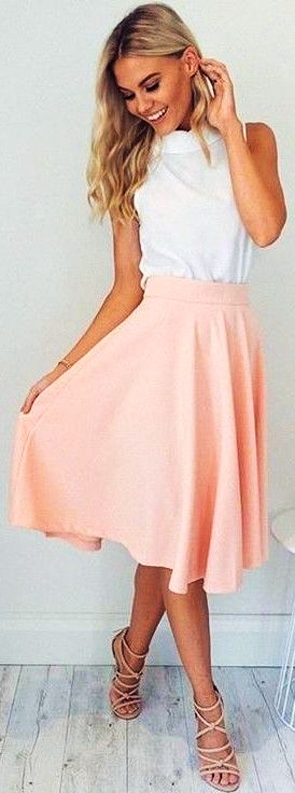 #fall #work #outfits | White Top + Blush 'Whirl Wind' Skirt