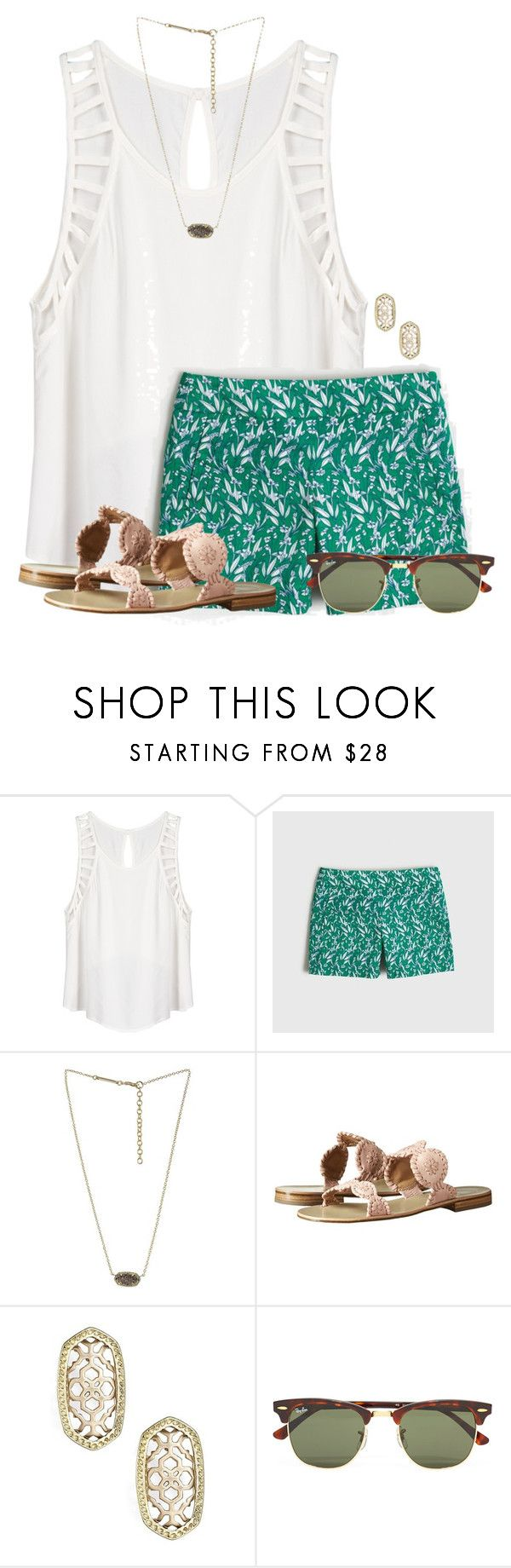 """""""~Sugar, yes please~"""" by flroasburn ❤ liked on Polyvore featuring Lush Clothing, J.Crew, Kendra Scott, Jack Rogers and Ray-Ban"""