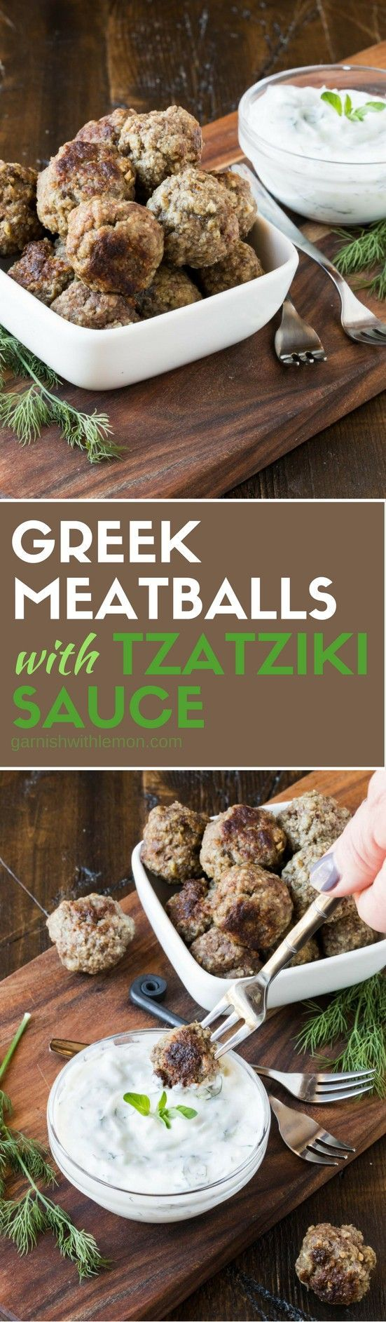 Looking for a protein-filled appetizer that everyone will devour? These Greek Meatballs with Tzatziki Sauce are a tasty addition to any party spread! Best part? You can make them ahead of time! #meatballs #appetizers #makeahead #partyfood