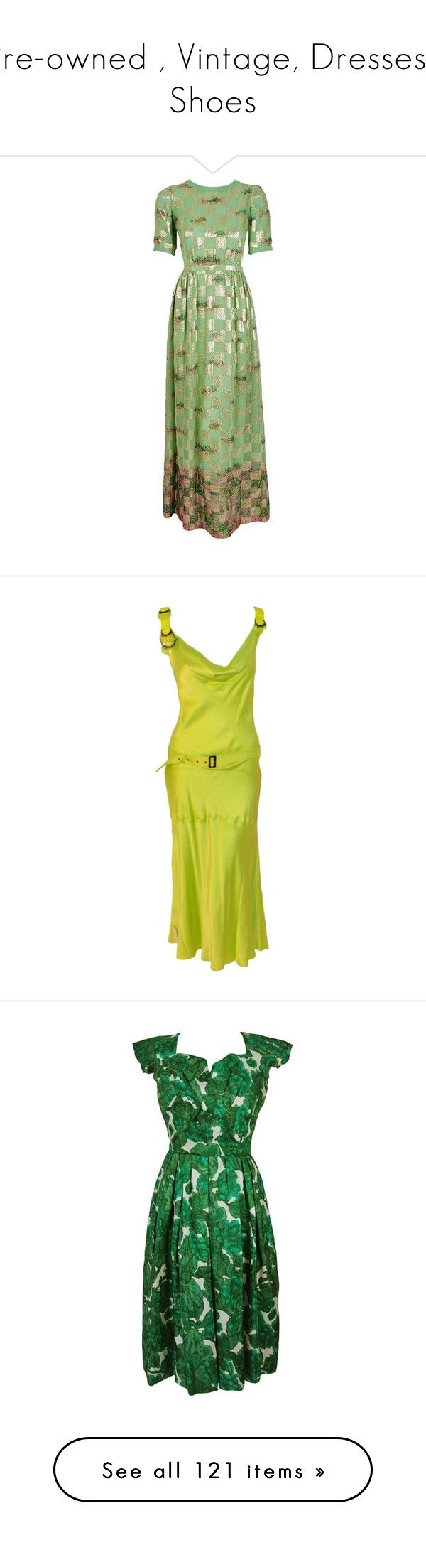 """Pre-owned , Vintage, Dresses,, Shoes"" by judymjohnson ❤ liked on Polyvore featuring dresses, gowns, green, party gowns, short-sleeve dresses, green dress, green party dress, going out dresses, yellow cocktail dress and couture cocktail dresses"