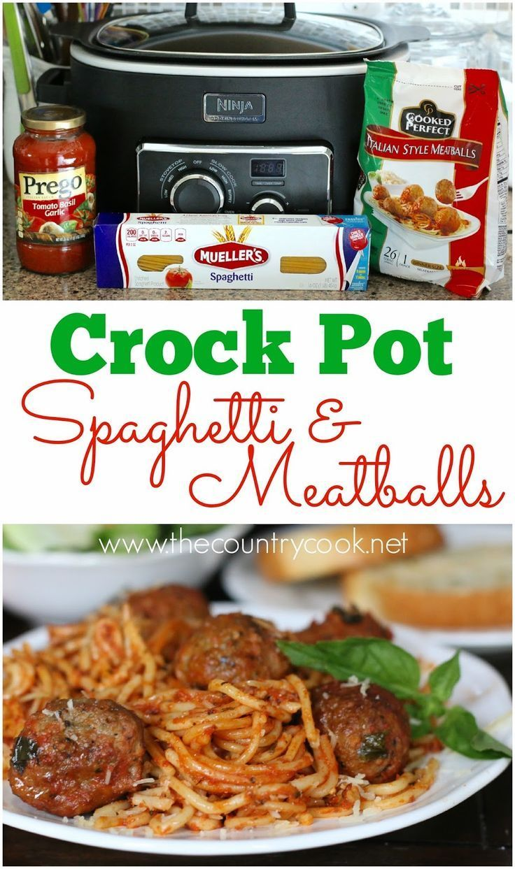 Crock Pot Spaghetti & Meatballs {All-in-One} recipe from The Country Cook. Only 4 Ingredients  and one pot! With this slow cooker meal, the meatballs cook perfectly and the noodles come out just right!