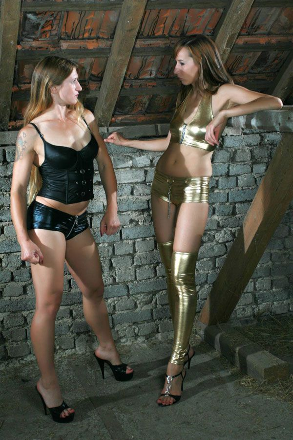 Before Catfight - I am in golden pants. Image set commission work for sale.