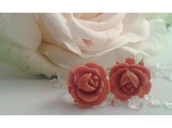 Oorbellen Japan oranje rozen uit de jaren 50.