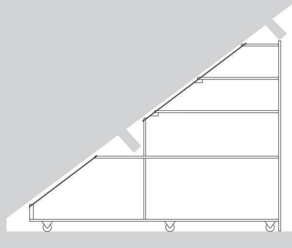 Kast op wieltjes onder schuin dak