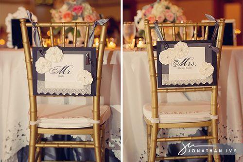 wedding chair decor - cute idea