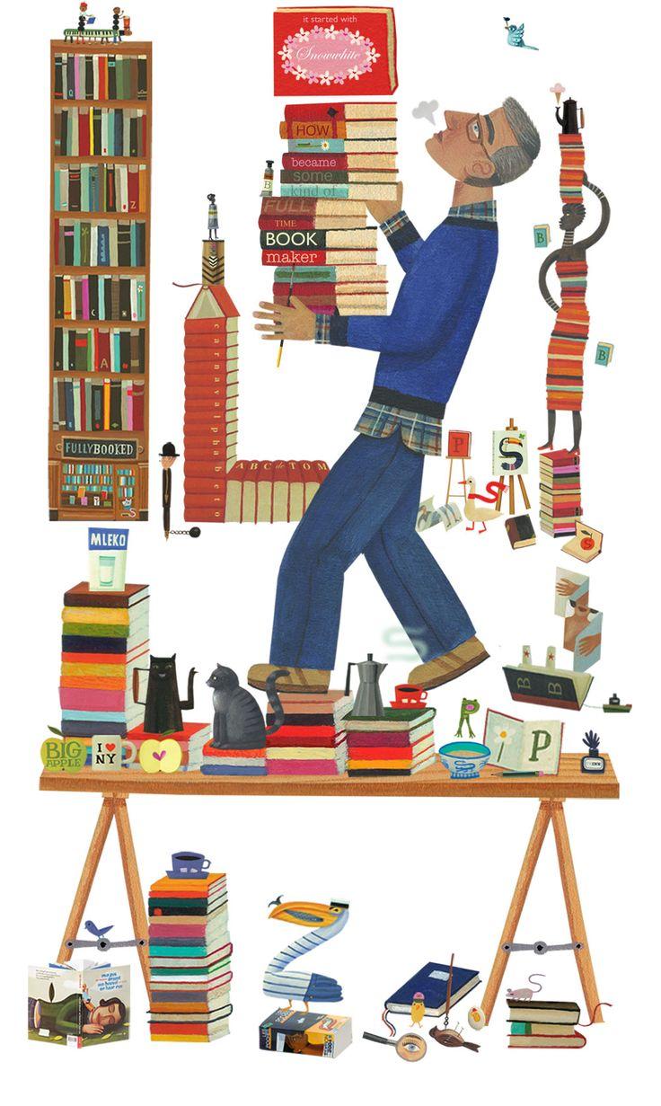 """bibliolectors: """" Preparando las lecturas del otoño (ilustración de Tom Schamp) """""""