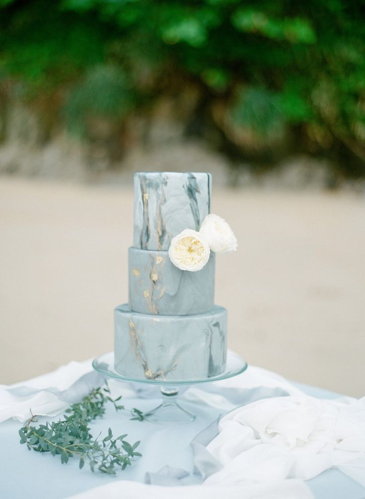 Beach Marble Watercolor Wedding Cake