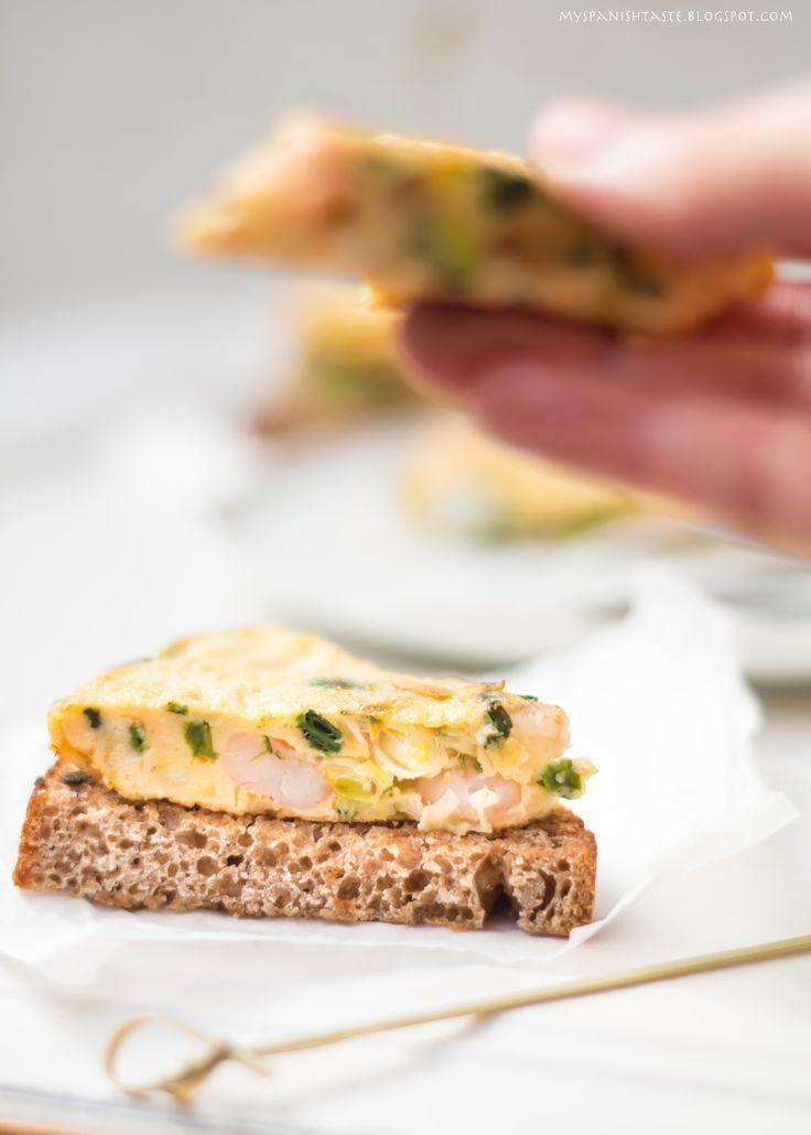 Shrimp and green garlic tortilla