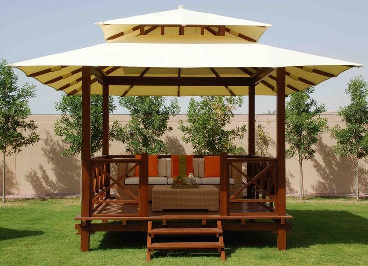 COBERTI Gazebo de madera con techo de lona, un toque diferente para tu jardín o terraza. #gazebo #madera #techo_lona #jardín #terraza #coberti #malaga