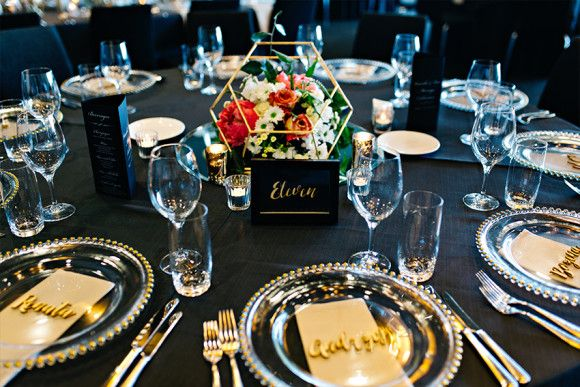 custom designed gold hexagonal table centrepiece