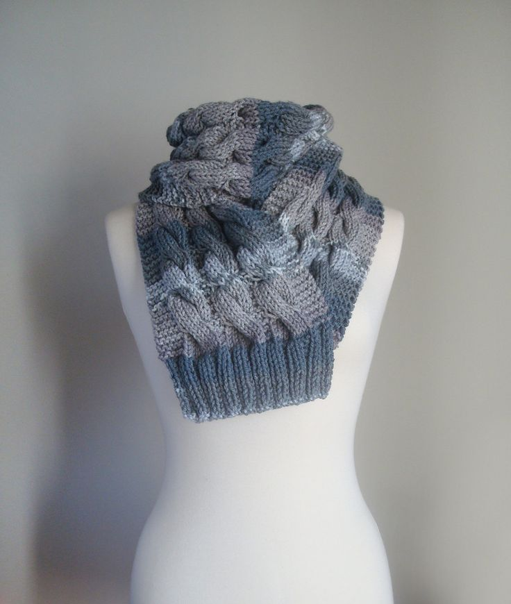 Hand knit grey scarf, unisex grey scarf, grey chunky knit scarf, unisex long knit scarf, multicolor winter knit scarf, knit scarf cables by ManaKori on Etsy
