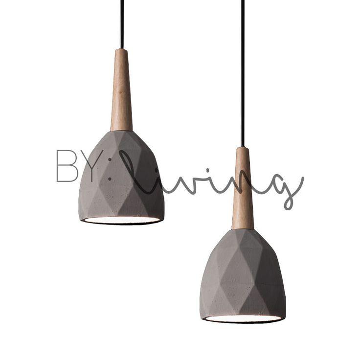Modern Contemporary Minimal Wood Timber Diamond Concrete Pendant Light | eBay