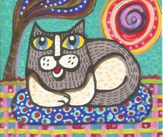 Cat Art, Whimsical Art, Mixed Media Art, Childrens Room Decor, Art For Kids 8 x 10 by Paula DiLeo