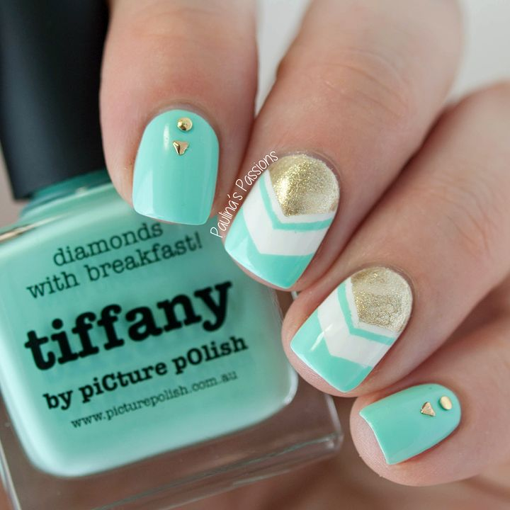 Mint Chevron Nails with Picture Polish Tiffany ~ by Paulina's Passions