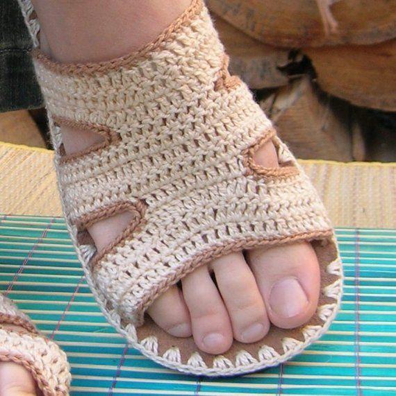 Tan Beige Crochet SANDALS boho hippie summer shoes by lepiedleger
