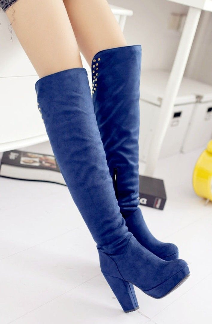 Chunky Low Heel Knee High Boots #fashion #booties