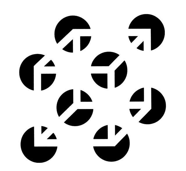 Cerramiento: A pesar de que no se encuentra en la ilustración, percibimos un cubo formado por franjas blancas que atraviesan los círculos negros.