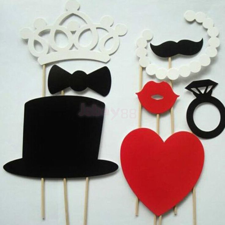Wedding Engagement Party Photo Booth Props Kits On Sticks Set Of 8Pcs