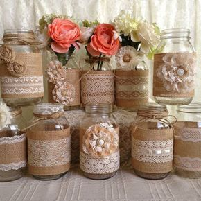 3 DAY SALE 10x rustic burlap and lace covered mason jar vases wedding decoration, bridal shower, engagement, anniversary party decor