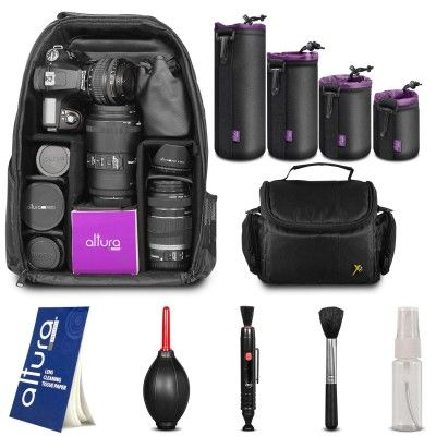 Kit includes: Travel Camera Backpack + Camera Bag Case + Altura Photo Neoprene Extra Large, Large, Medium, Small Lens #Pouches + Camera Cleaning Kit + #Camera Cleaning Tissue + #MagicFiber Cleaning Cloth