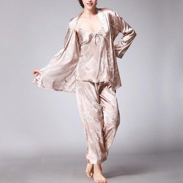 e4fdd48253 3 Pcs Dragon Print Robe Pajama Pants Set