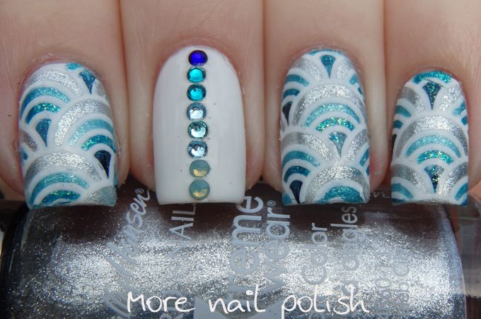 More Nail Polish: Blue arches with Swarvoski crystals