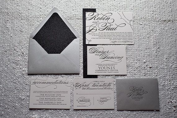 Black and Silver Calligraphy Letterpress Wedding by JustInviteMe