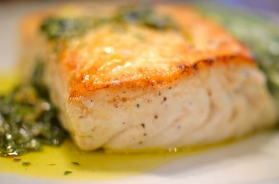 Seared and Poached Halibut with Salsa Verde and Sugar-Snap Peas