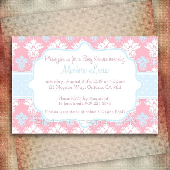 Pink and Blue Damask Girl Baby Shower Invitation by MVDesignInk, $13.00
