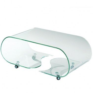 Captivating Modern Bent Glass Coffee Table On Casters Part 29