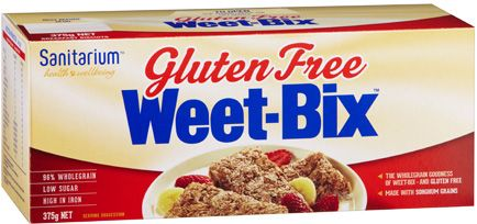 Gluten Free Weet-Bix: Wholegrain sorghum (96%), golden syrup, salt, vitamins (niacin, thiamin, riboflavin, folate), mineral (iron).