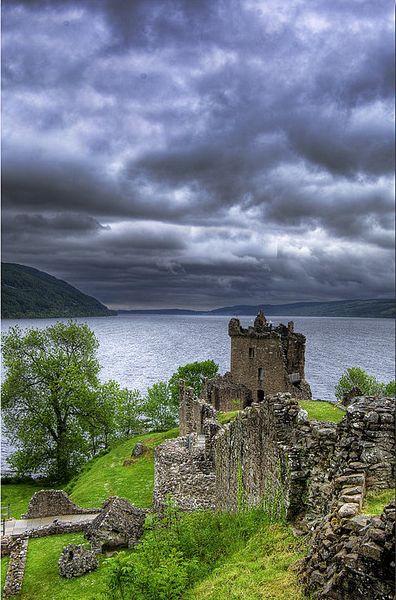 Urquhart Castle overlooking Loch Ness, in Scotland.