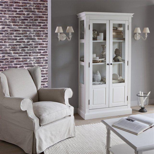 Bibliothèque vitrée, pin massif, coloris blanc, Authentic Style La Redoute Interieurs