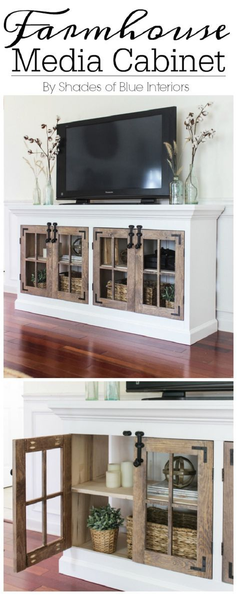 Farmhouse Media Cabinet Free Plan - 16 Best DIY Furniture Projects Revealed – Update Your Home on a Budget!