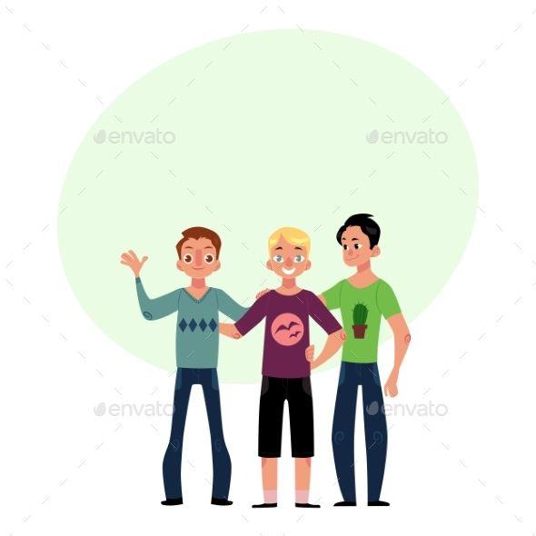 Male Friendship Concept Two Couple of Boys, Men