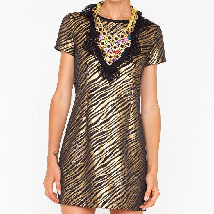 Mini abito laminato con fantasia zebrata. Art. GL-182