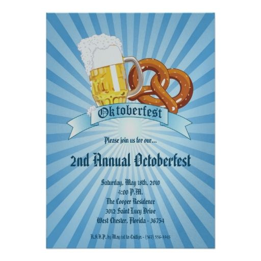 5 x 7 blau Oktoberfest Bier Brezel Party Einladung | Zazzle – VVP