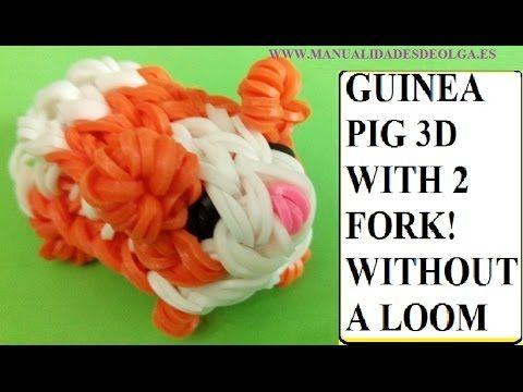 Wie man ein Meerschweinchen, eine Figur aus elastischen Bändern mit Halterungen ohne Webstuhl machen - YouTube