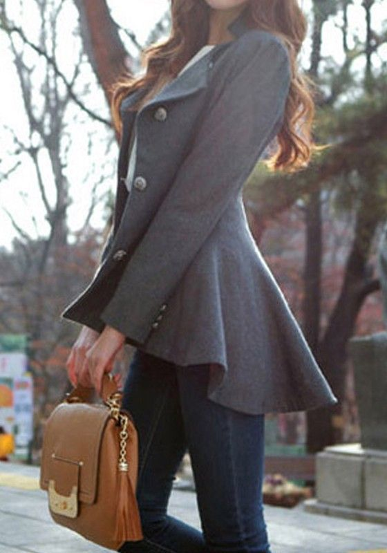 So Cute! Grey Ruffle Hem Single Breasted Swallowtail Asymmetric Fit-and-flare Peplum Hem Lapel Wool Coat - Outerwears - Tops